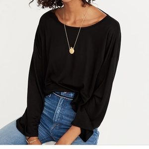 Madewell Libretto wide sleeve oatmeal flowy blouse